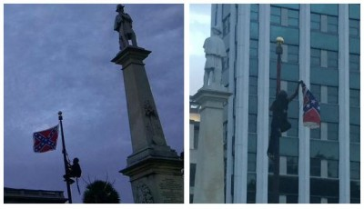 Bree Newsome climbing flagpole and removing Confederate flag