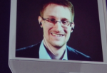 Photo of Edward Snowden streaming through a remote-controlled robot at a 2014 TED conference in Vancouver.