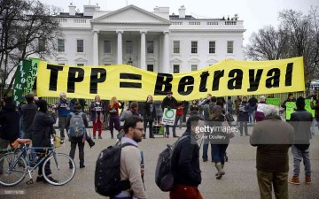 White House protest, hours before TPP is signed: TPP is Betrayal DC February 3, 2016 Getty Images