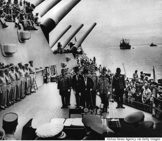 Japan's surrender ceremony aboard the U.S. battleship USS Missouri in Tokyo Bay on Sept. 2, 1945. (Xinhua via Getty Images)